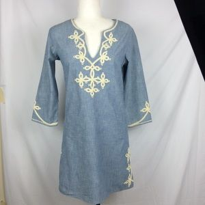 Lucky brand embroidered chambray tunic Small
